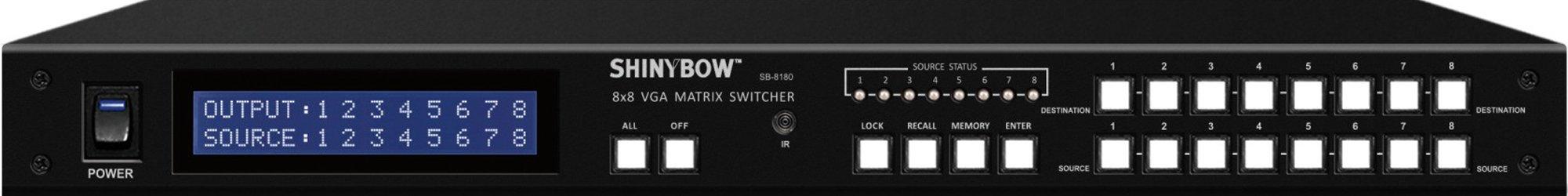 8x8 (8:8) VGA PC RGBHV Video Matrix Switch Switcher + RS232+ IR Remote SB-8180