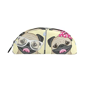 TIZORAX - Estuche para lápices con paraguas, diseño de dos perros