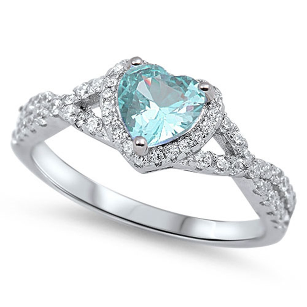 Oxford Diamond Co Sterling Silver Heart Halo Simulated Gemstone Promise Ring All Colors Available (10, Aqua (Simulated Aquamarine))