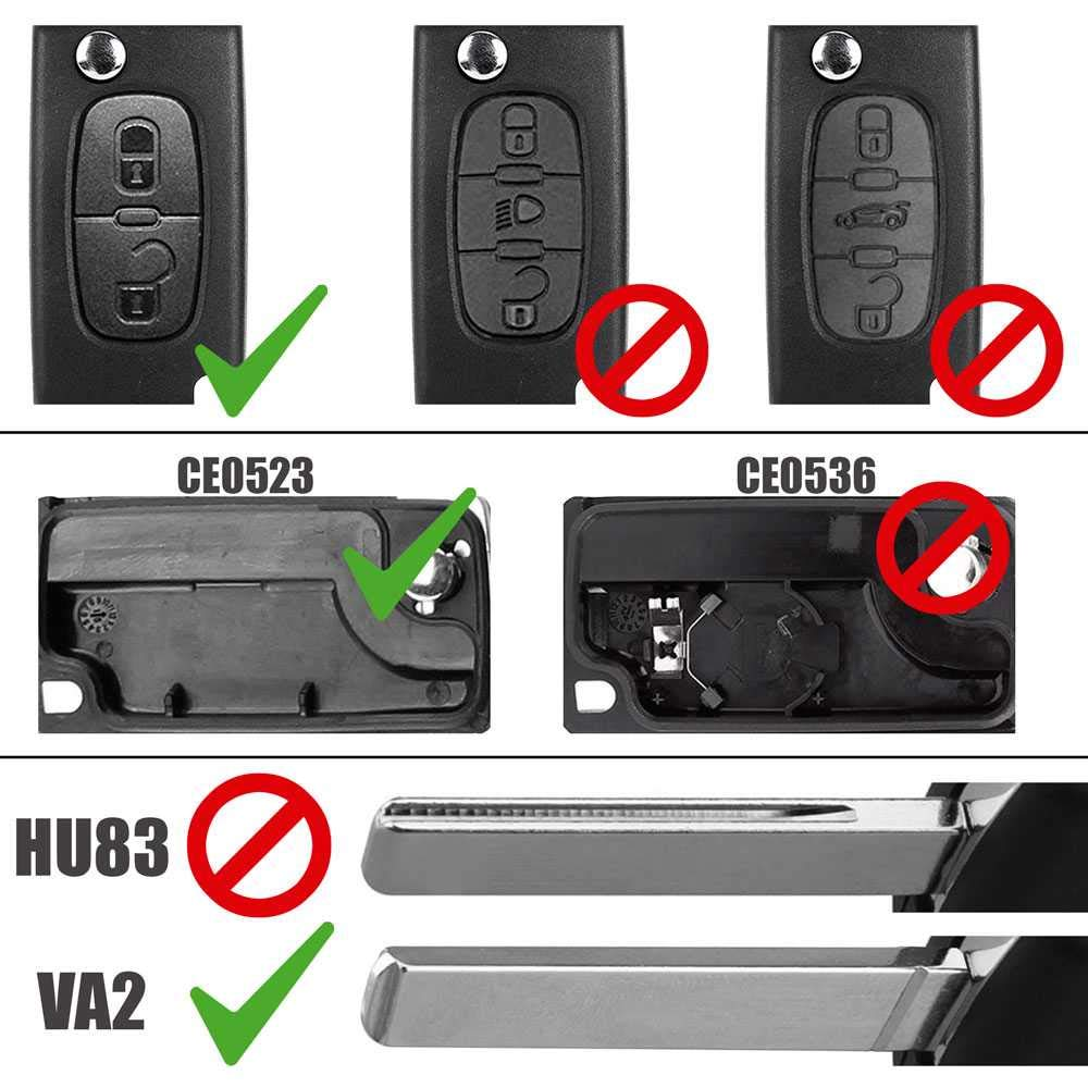 Ociodual Mando de Dos Botones Funda Carcasa para Peugeot 407 408 307 308 107 207 Llave V2