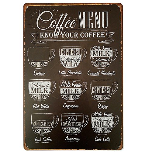 MMOUNT Coffee Menu Funny Tin Sign Bar Pub Garage Diner Cafe Home Wall Decor Art Poster Vintage Metal Plaque Iron Painting House Signs Gift8x12 -