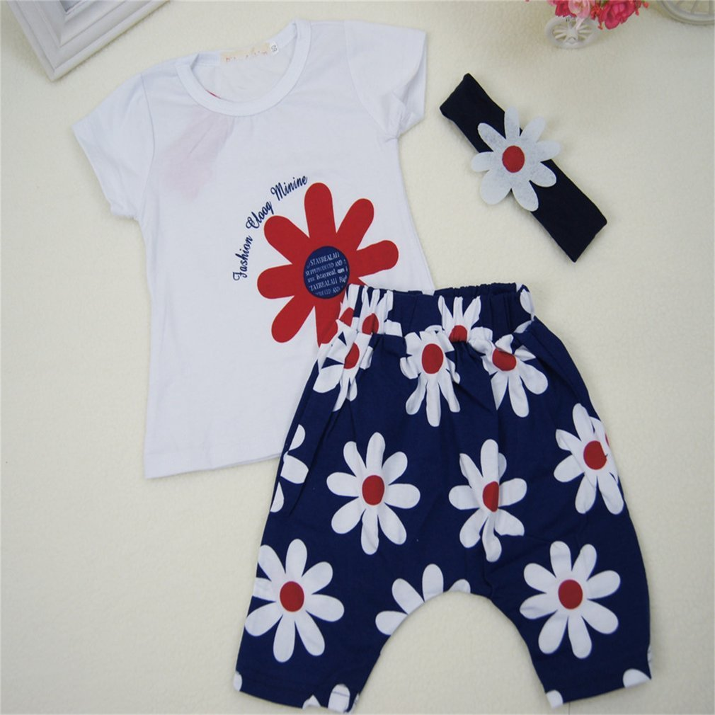 Newborn Unisex Clothing Set Short-sleeved T-shirt+Shorts with Floral Print Lovely Kids Clothes 100 Naisidier
