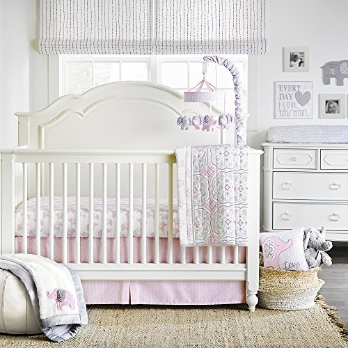 Wendy Bellissimo 4pc Nursery Bedding Baby Crib Bedding Set – Elephant Crib Bedding from The Elodie Collection in Grey and Pink