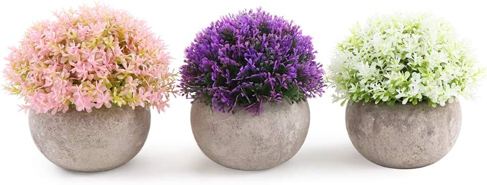 ZNCMRR Mini Artificial Plants Flowers Set of 3 for Home Decorations,Plastic Fake Plants Topiary Shrubs with Gray Pot