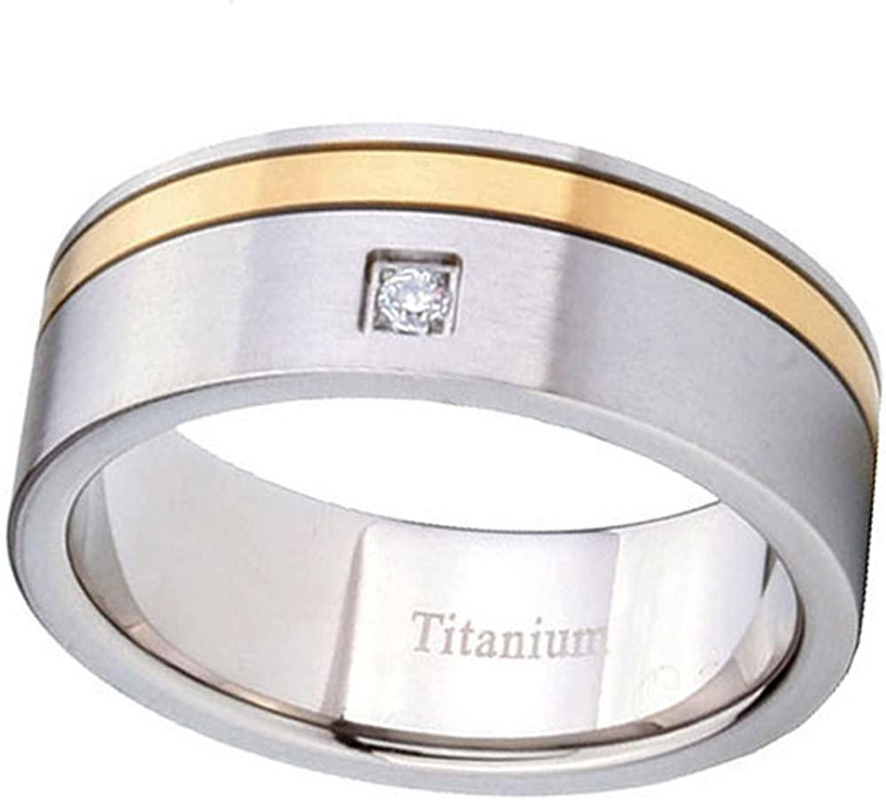 Janjewelry 8MM 14K Gold Two Tone Titanium Comfort Fit Wedding Ring Size 9 to 13