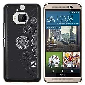 YiPhone /// Prima de resorte delgada de la cubierta del caso de Shell Armor - Estrellas blancos Planetas Sistema Solar - HTC One M9Plus M9+ M9 Plus