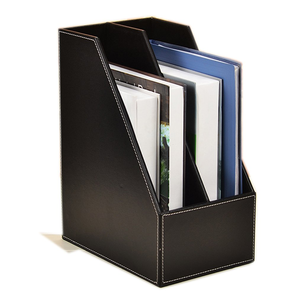 Vertical Style,Leather Magazine Holder Office Desk Organizer File Document Tray Box Bookends Book Stand (Black (2 Slot)) by Magazine File Holder