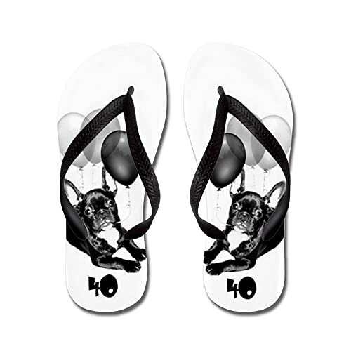 db24e46b0f28c Image Unavailable. Image not available for. Color  CafePress - 40Th  Birthday French Bulldog - Flip Flops ...