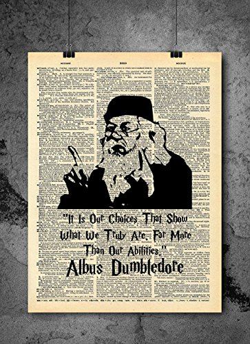 Harry Potter Art Prints - Albus Dumbledore Quote- Vintage Dictionary Print 8x10 inch Home Vintage Art Abstract Prints Wall Art for Home Decor Wall Decorations Ready-to-Frame