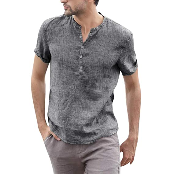 Amazon.co.jp: メンズコットンブレンドストライプ半袖シャツ