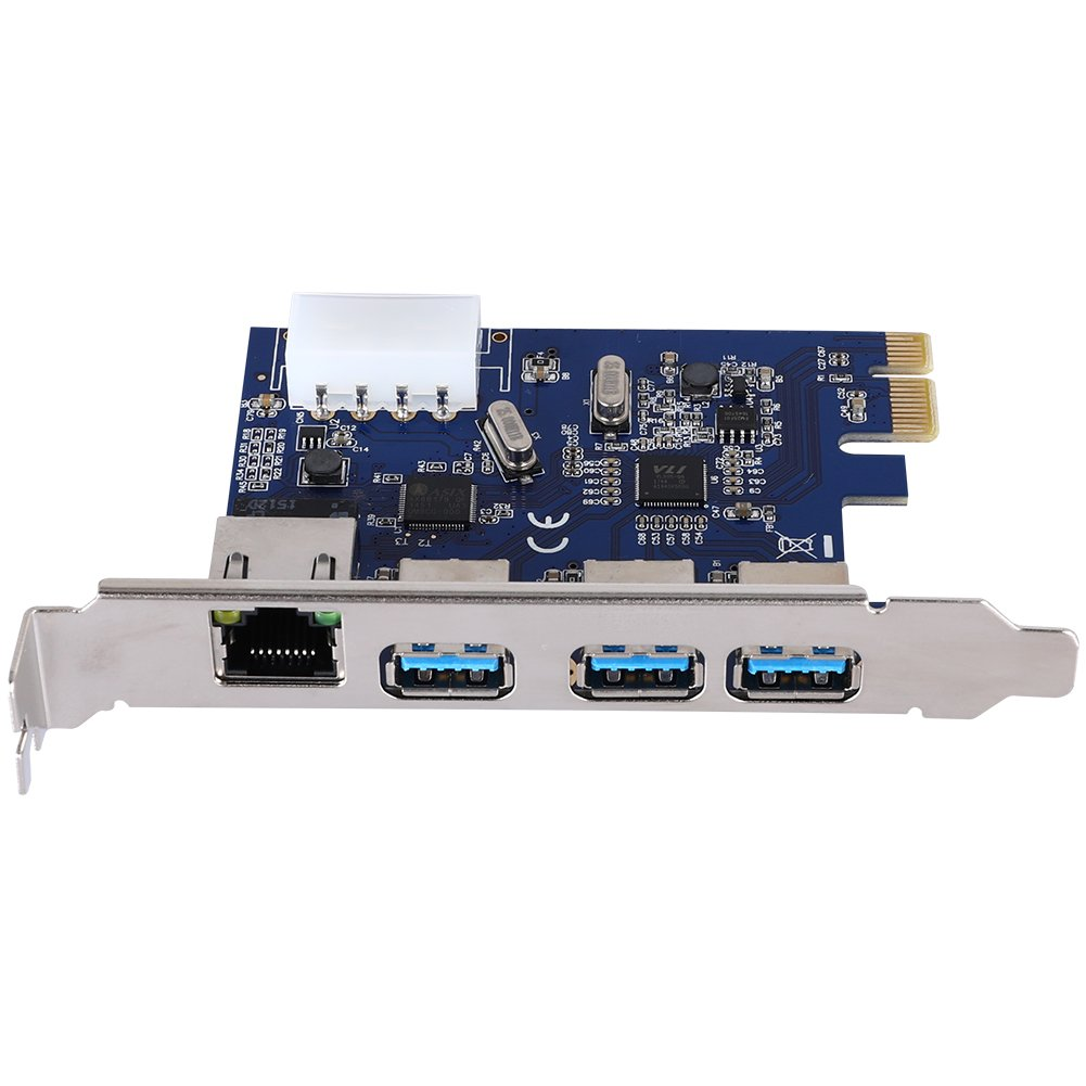 QNINE PCIe to USB 3.0 & Gigabit Ethernet Expansion Combo Card, PCI Express 3 Port USB 3.0 Card with 10/100/1000Mbps Network Controller RJ45 Lan Adapter for Desktop PC by QNINE (Image #4)
