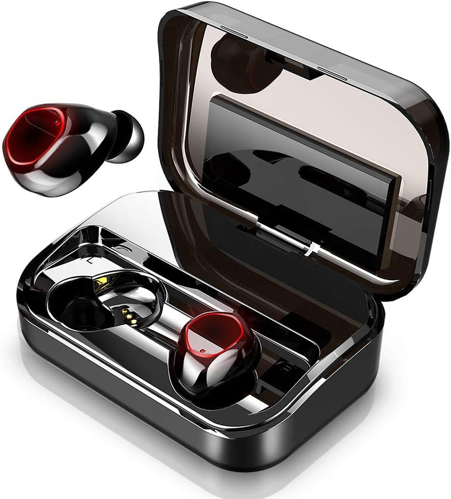 Auriculares Bluetooth 5.0 Inalámbricos, Donerton In-Ear Stéreo Auriculares con Micrófono, IPX8 Impermeable Auriculares Inalámbricos Deporte con 3500mAh Caja de Carga, Pantalla LED & Control Tactil