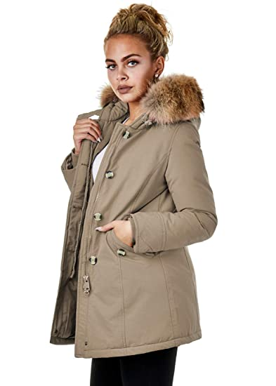 SOVENTUS Damen Winterjacke mit Echtfell Echtpelz Daunen Jacke