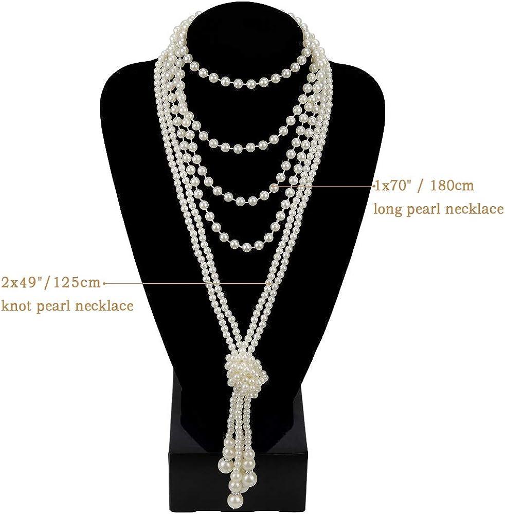 roaring 1920s roaring twenties downton abbey Vintage gold pearl tassel necklace art deco retro gatsby jewelry great gatsby accessories