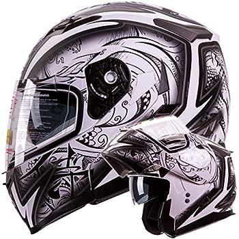 """IV2 Helmets """"DEMON SAMURAI"""" Dual Visor Modular Flip up Motorcycle Snowmobile Helmet DOT (S)"""