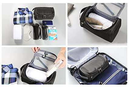 909cea951225 Amazon.com   iSuperb Hanging Toiletry Bag Travel Bag Water Resistant  Lightweight Wash Gym Shaving Bag Organizer for Women Men 10 x 5.5 x 5 inches (Dark Blue) ...