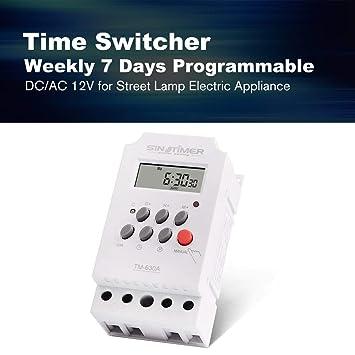 Lorenlli Ajuste SINOTIMER 12V 30A Semanal 7 días Control programable del temporizador del relé del temporizador digital para aparatos eléctricos con reloj ...