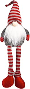 Cypress Home Beautiful Christmas Sitting Little Legs Santa Claus Plush Table Top Décor - 6 x 19 x 3 Inches Indoor/Outdoor Decoration for Homes, Yards and Gardens