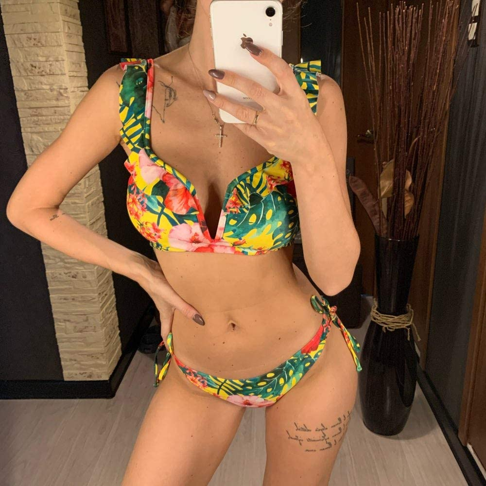ANKOMINA Womens Floral Bikini Set Low Rise Ruffled Shoulder Starp Two Pieces Swimsuit Push Up Bathing Suit Swimwear