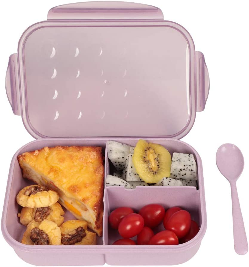 UPTRUST Bento Lunch container For Kids, Lightweight Bento adult box With 3 Compartment. Leak-proof, Microwave safe, Dishwasher Safe, lightweight easy to carry and store (spoon included, Purple)