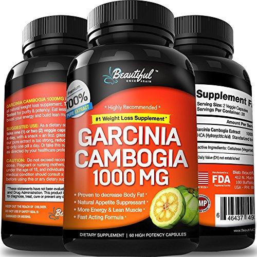 Extrait de Garcinia Cambogia 100 % Pure 1000 mg | Amaigrisseurs qui travaillent rapidement pour les femmes et les hommes | HCA coupe-faim, Carb Blocker, Belly Fat Burner, tous les suppléments de perte de poids naturel