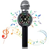Wireless Karaoke Microphones Speaker, 4 in 1 Portable Karaoke Player Speaker with Flash lights, Superior Audio Quality for Home KTV Player Outdoor Party Playing Singing Anytime, Gift for kids