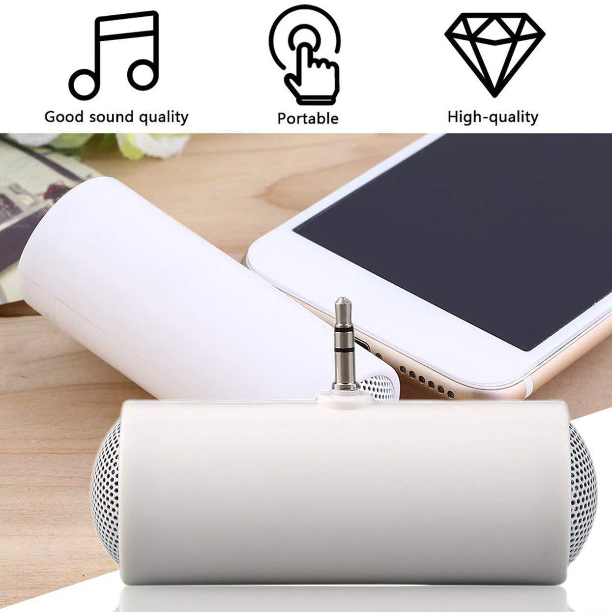 Detectorcatty Newest Stereo Mini Speaker MP3 Player Amplifier Loudspeaker for Mobile Phone 3.5mm portabledurable White