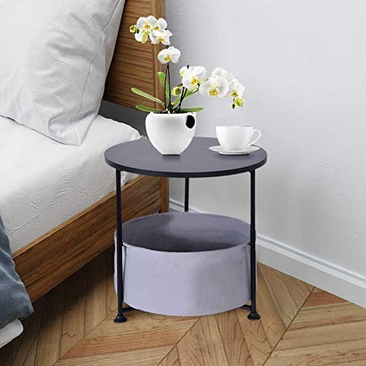 Round Wood Side Table Small End Table Side Table with Fabric Storage Basket Wood Look Accent Furniture with Metal Frame Coffee Table Bedroom Nightstand14.5 H, Black
