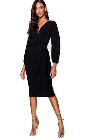 798739ec846 Noir Femmes robe moulante midi cache-cœur à épaules dénudées Tall Mabel - 8