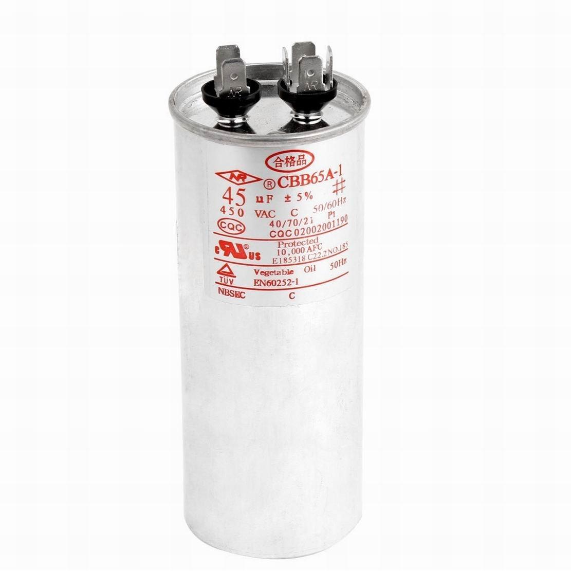 Ugtell Cbb65 Motor Capacitor, AC 450V, 35Uf, 50/60Hz, 40/70/21 for air conditioner, refrigerators (45Uf)