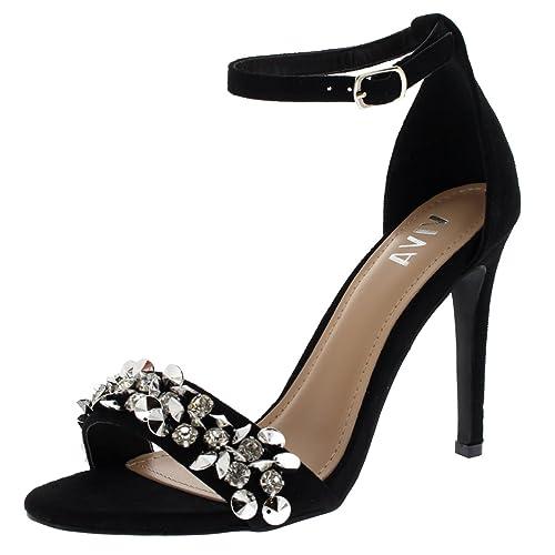 sitio de buena reputación a1391 2d755 Viva Mujer Diamante Correa Delantera Correa de Tobillo Fiesta Sandalias  Tacones Altos Zapatos