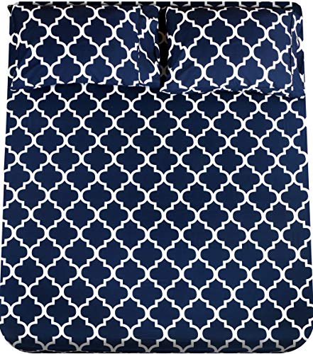 Utopia Bedding Printed Bed Sheet Set- Soft Brushed Microfiber Fabric-Easy Care - Wrinkle, Shrinkage and Fade Resistant 4 Piece Bedding (King, Quatrefoil Navy)
