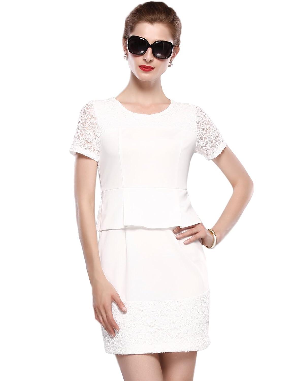 Maxchic Women's Lace Applique LBD Peplum Dress C08284G13M