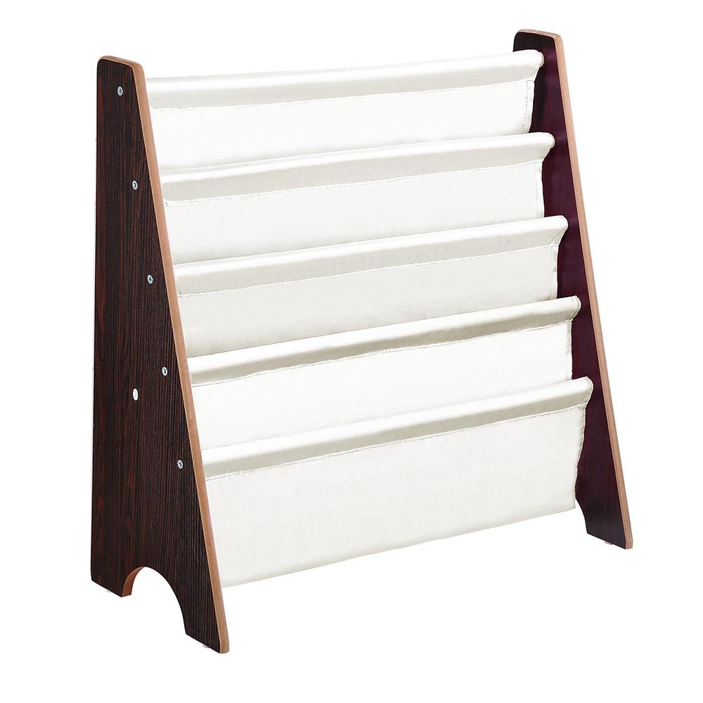 Yeshom Wood Kids Book Shelf Sling Storage Rack Organizer Bookcase Display Holder Walnut