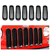 Danti 2016 Latest Design Black Honeycomb Trim Grill Grille Cover Insert Mesh Frame for Jeep Wrangler JK & Unlimited 2007-2016 - 7 Pieces Kit (Honeycomb Version)