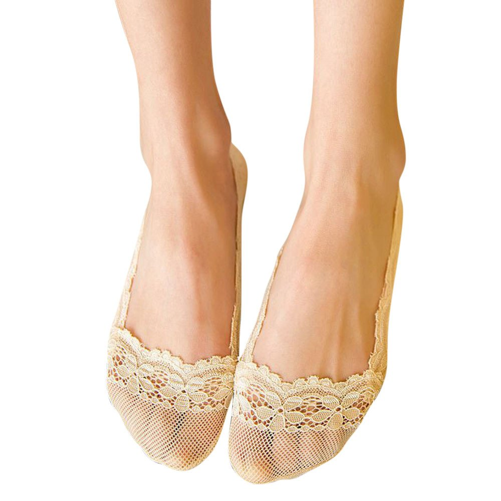 Sothread Women No Show Ankle Socks Low Cut Lace Invisible Anti-Skid Flat Boat Liners (Beige).