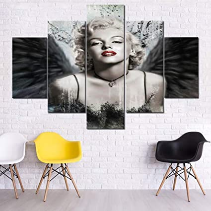 Bedroom Pictures Wall Decor Portrait of Marilyn Monroe Paintings Blonde  Girls Artwork 5 Piece Printed on Canvas Wall Art Singer Paintings for House  ...