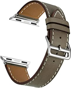 Valkit Bands Compatible with Apple Watch Band 38mm 40mm 42mm 44mm, Genuine Leather Strap Bracelet Replacement Wristband with Metal Adapter for Women Men iWatch SE 6 5 4 3 2 1, Single Tour - Brownness