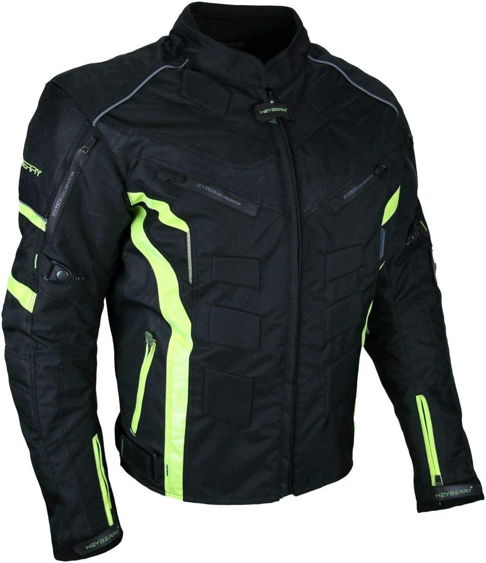 HEYBERRY Kurze Textil Motorrad Jacke Motorradjacke Schwarz Wei/ß Gr 6XL