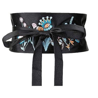 Moda corbata cuerda corbata bordado flor faja decoración larga ...
