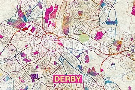 Map Of Uk Derby.Derby England Uk Artistic Modern Map Original High Quality