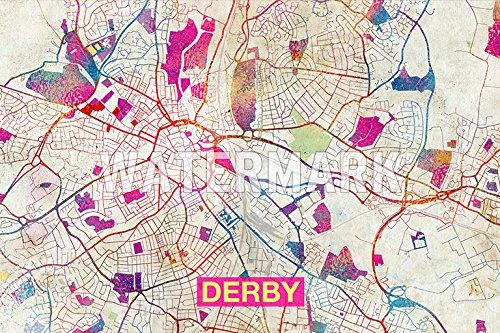 Derby England Uk Artistic Modern Map Original High Quality