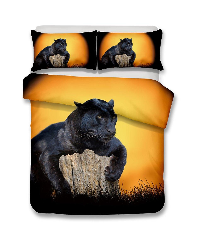 Helengili 3D Digital Printing Bedding Set Snow Leopard Bedding Bedclothes Duvet Cover Sets Bedlinen 100 Percent Microfiber Present , California King