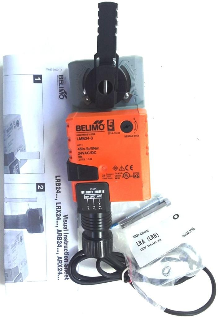Belimo LMB24-3 24V Non-Spring Return, On/Off/Floating Point Control, Direct Coupled (No Aux Switch) control