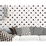 Mordern Two Different Pattern Triangles Wall Stickers -Home Decoration Removable Art Vinyl Wall Decal For Kids Nursery Room Decor-Bedroom Dorm Wall Decoration (Black)