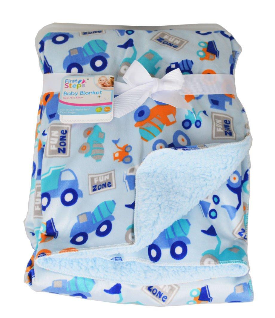 Baby Blanket Soft Colourful Mink Sherpa Lining Printed Design 0months+ 30° Wash - Blue Trucks RSW