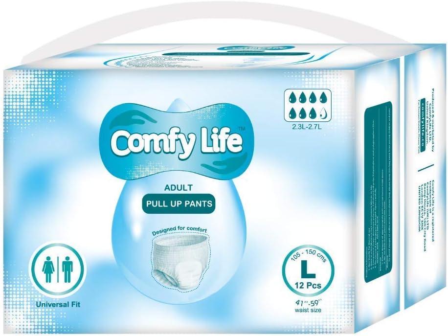 ComfyLife Premium Incontinencia Para Adultos Panales Pull Up Diaper Pants - Talla Large 12 Paquetes De Alta Ansorbencia (Descuento por cantidad disponible para clientes principales)