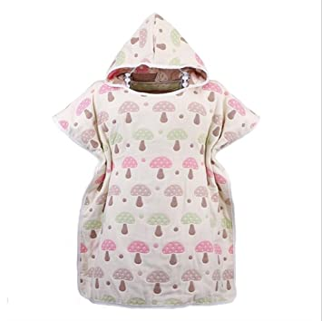 SUxian Encantador Albornoz para niños Patrón de champiñones Toalla de baño Capa de Gasa de Seis Capas Albornoz Ropa de Dormir (Color : Pink): Amazon.es: ...