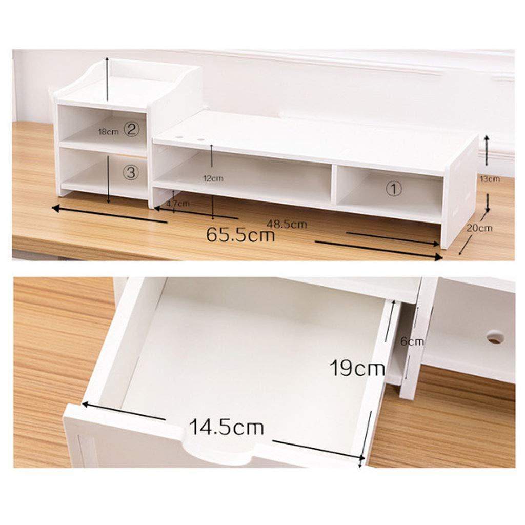 HKPLDE Supporto per Monitor//Legno Supporto per PC con Cassetto Ergonomico per casa e Ufficio Organizer da scrivania Supporto da Tavolo Bianco