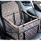 Pet Car Seat Doggy Cat Automobile Seat Thick Dog Carrier Bag Foldable Anti-dirty Waterproof Breathable Metal Frame avec Clip-on Safety Leash for SUV Cars Trucks Front / Back Seat